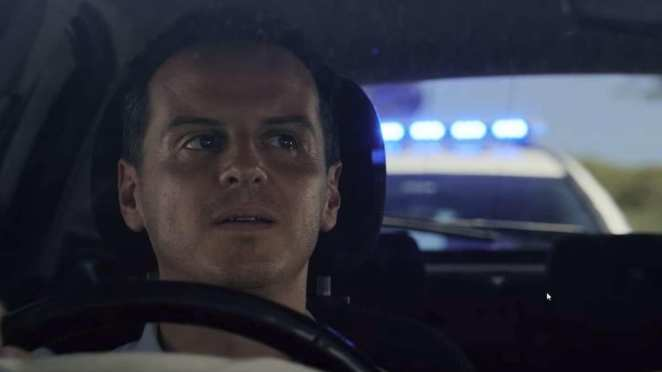 "Chris (Andrew Scott) driving in Black Mirror ""Smithereens"" on Netflix"