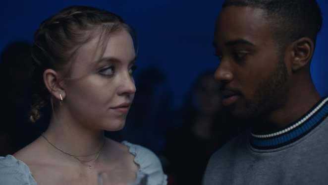 Chris McKay (Algee Smith) and Cassie (Sydney Sweeney) face each other in Euphoria