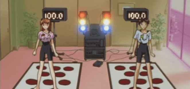 Shinji and Asuka train with music to defeat the next Angel in Neon Genesis Evangelion