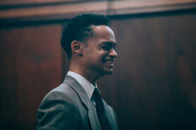 The young Raymond Santana (Marquis Rodriguez) cries at trial in Netflix's When They See Us