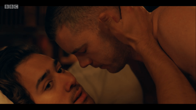 Maxim Baldry and Russell Tovey as Viktor and Daniel in the BBC and HBO show Years and Years