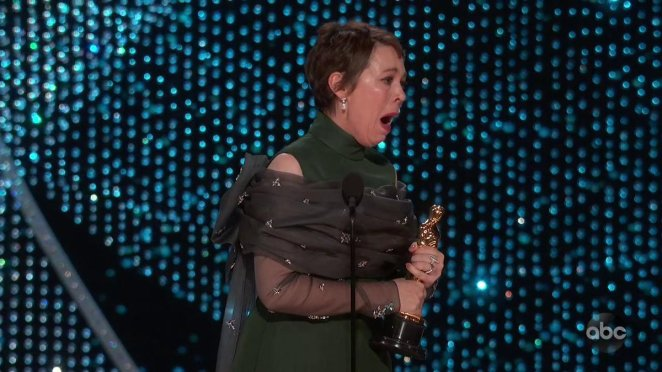 Olivia Colman accepting her first Oscar at the 2019 ceremony