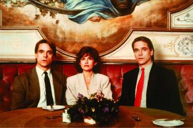 Jeremy Irons, Genevieve Bujold, Jeremy Irons sitting at an upper class table in a restaurant in Dead Ringers