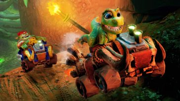 Baby dinosaur driving a racing car in Crash Bandicoot Nitro Grand Prix
