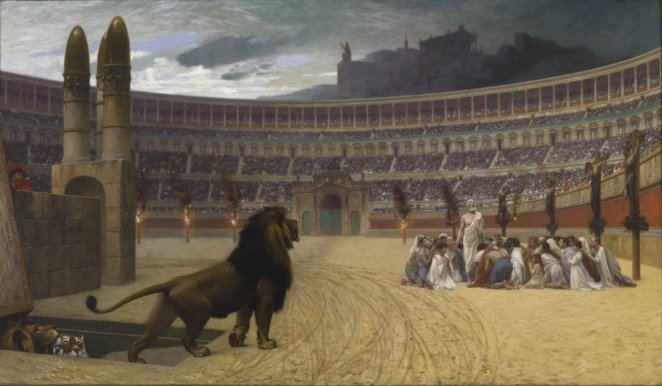 Jean-Leon Gerome's painting depicting Christians praying in an arena while a lion approaches them.