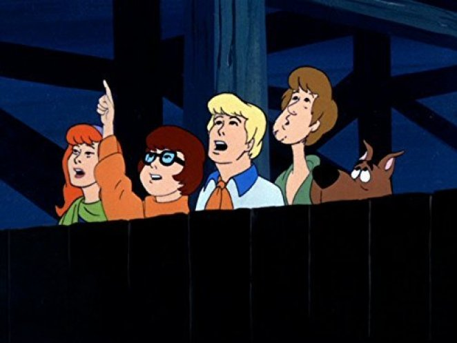 Daphne, Velma, Fred, Shaggy, and Scooby in Scooby Doo Where Are You?