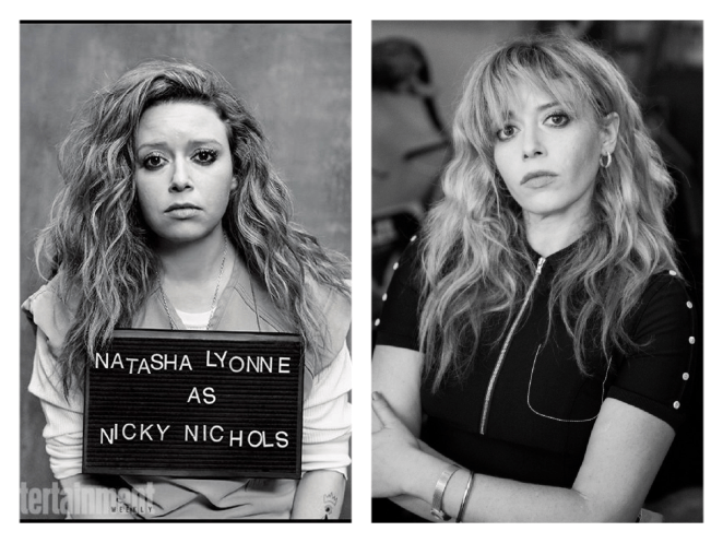 Natasha Lyonne as Nicky Nicols and to the right shown in real life