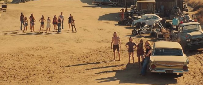 Memembers of Charles Manson's family at Spahn Movie Ranch in in the movie Once Upon a Time in Hollywood