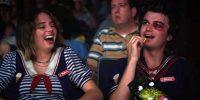 Steve (Joe Keery) and Robin (Maya Hawke) watch a film at the Starcourt Mall.