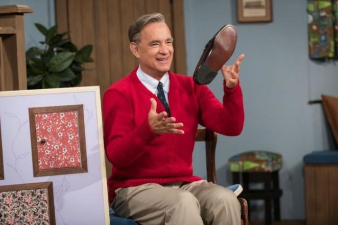 "Tom Hanks as Fred Rogers in ""Beautiful Day in the Neighborhood."