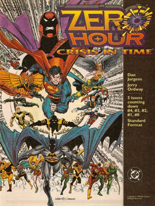 The house ad for DC's Zero Hour shows all their heroes running towards the reader, and the text shows it's five issues counting down from #4 to #0.