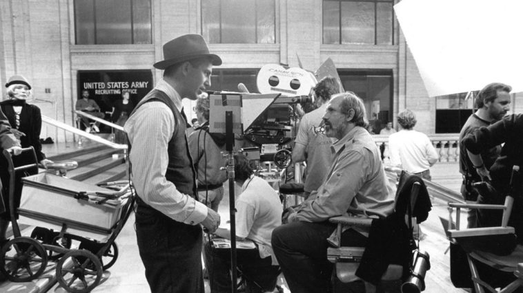"Lead actor Kevin Costner and director Brian De Palma on the Chicago Union Station set of ""The Untouchables"""
