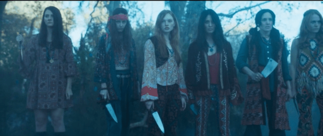 Young women in David's cult have knives when Division arrives