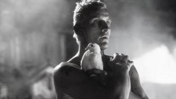 Rutger Hauer as Roy Batty in Blade Runner clutching a dove in his arms in the rain