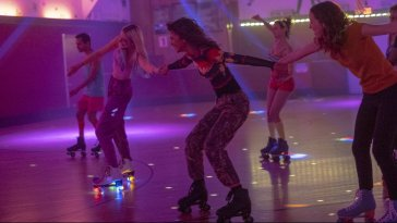 Jules, Rue, and Lexi rollerskating in Euphoria, Season 1, Episode 5