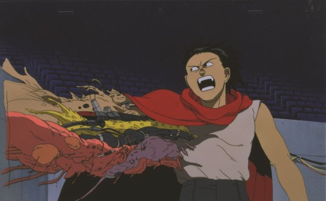 Tetsuo starts to experience horrifc mutations due to his out of control powers in Akira.