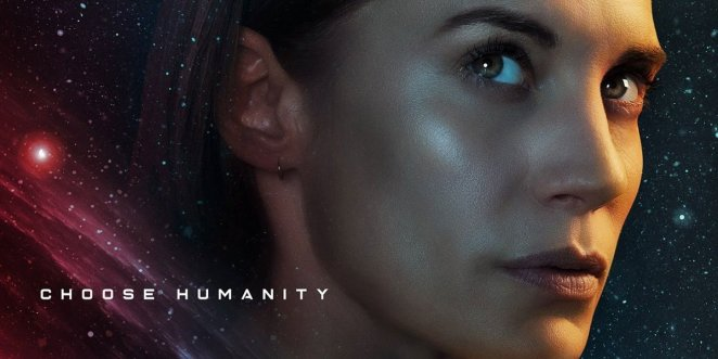Katee Sackhoff looks into the distance on a poster for Netflix's Another Life