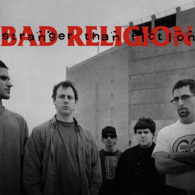 The cover to Bad Religion's Stranger Than Fiction has the band in a line in front of a building, in a black and white photo.