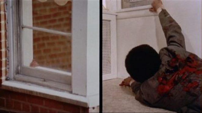De Palma uses split screen to show two perspectives on murder through windows in his 1972 film Sisters