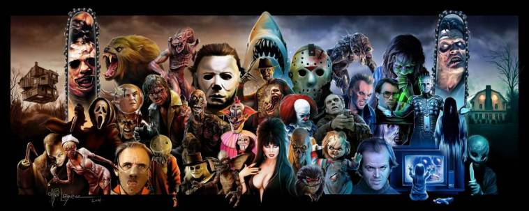 Horror Icon collage of characters from famous horror movies