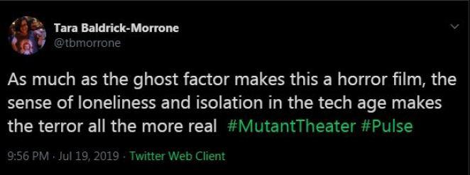 a tweet describing the isolation theme in Pulse