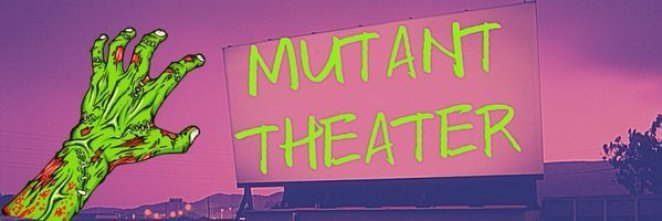 The Mutant Theater yellow logo with a green alien hand