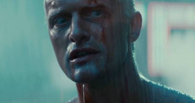 rutger hauer in blade runner with blood and rain dripping on his face