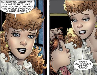 Sally Jupiter comforts her daughter Laurie after Laurie learns of her mothers attack in the Watchmen graphic novel