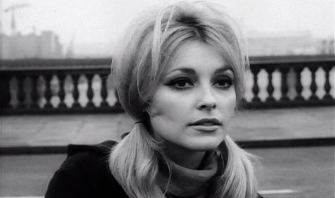 Sharon Tate with hair in bunches