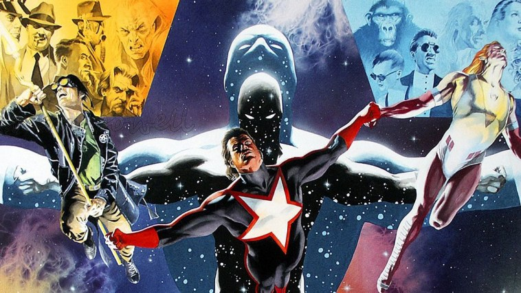 The poster version of the Tony Harris/Alex Ross collaborative Starman covers. Jack Knight, Will Payton and Mikaal Tomas, all Starmans, are pictured.
