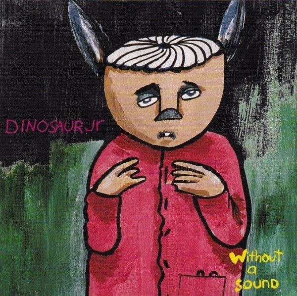 the cover of Dinsoaur Jr. album Without a Sound is a painting of a human-like creature that has donkey ears, an acorn for a head, and a red shirt.