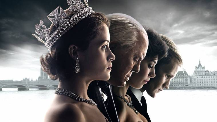 Elizabeth, Winston, Margaret, and Philip stand in a row in a promo for The Crown
