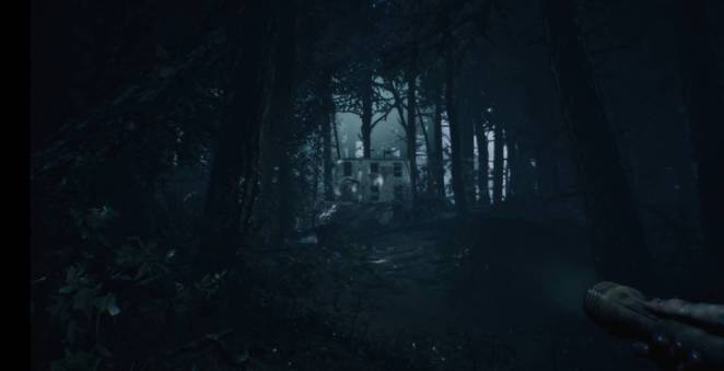 A house stand atop a hill in the distance, lit dramatically by lightning in the woods