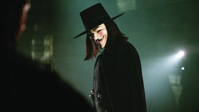The fabulous V stares down a fiend while wearing the Guy Fawkes mask