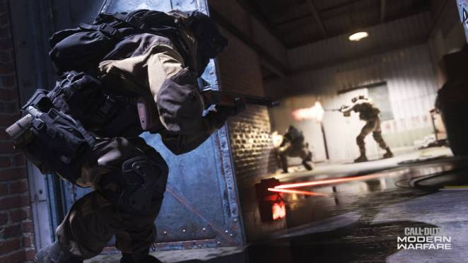 a heavily armed soldier sneaks through a doorway to take aim at two enemy soliders