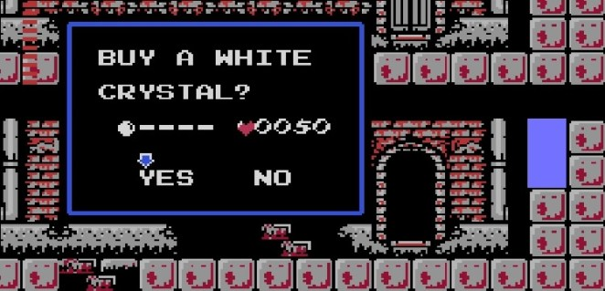 You encounter a merchant selling the White Crystal for 50 hearts.