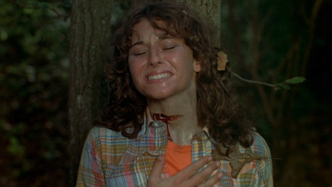 Alice a hitchhiker gets her throat slashed up against a tree