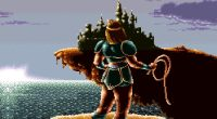 Simon stands on cliff with Castlevania off in the distance.