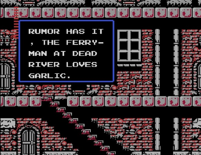 Rumor has it, the ferryman at Dead River loves garlic, a town person says in a text box
