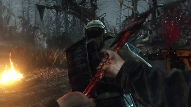 A first person view of Michaels axe slicing into the back of one of his victims