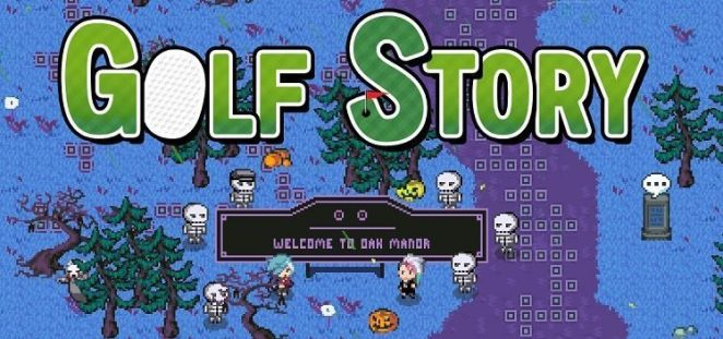 The Golf Story Start Screen features different golf courses. In this one, we see the spooky, goth denizens of Oak Manor.