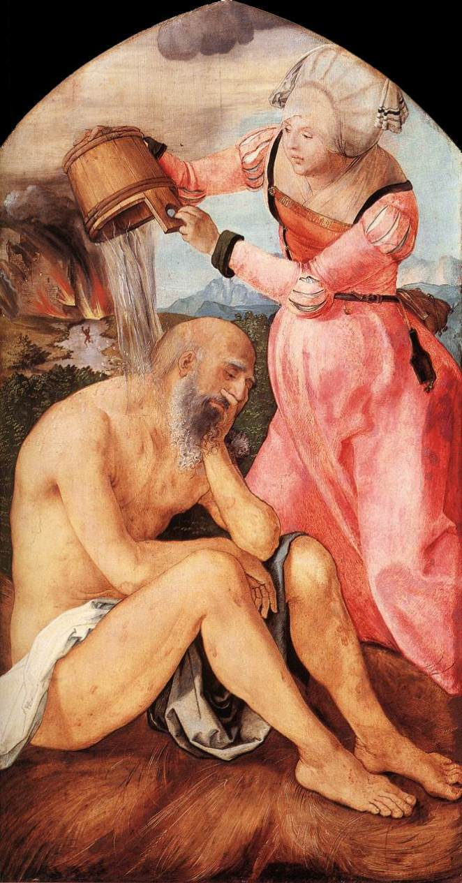 Job's wife pours water over him in Albrect Durer's painting from 1504