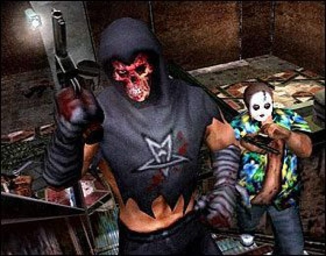 Two Hunters, one in a skull mask and gray hoodie brandishing a gun, and one wearing a white mask and Hawaiian shirt stare into the camera.