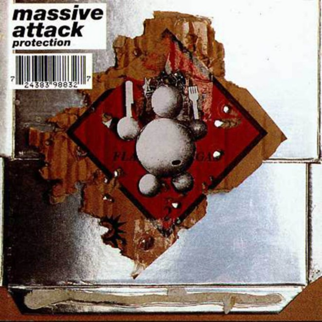 The album cover of Massive Attack's Protection is abtract art: on a silver background is a diamond shape of a hazardous materials symbol, with a round humanoid shape on top of that holding a fork and a knife as if ready to feast.