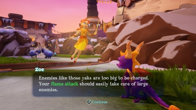 Spyro gets some advice from Zoe the magical helper character