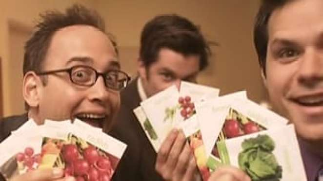 Three men hold up packets of vegetable seeds in front of them.