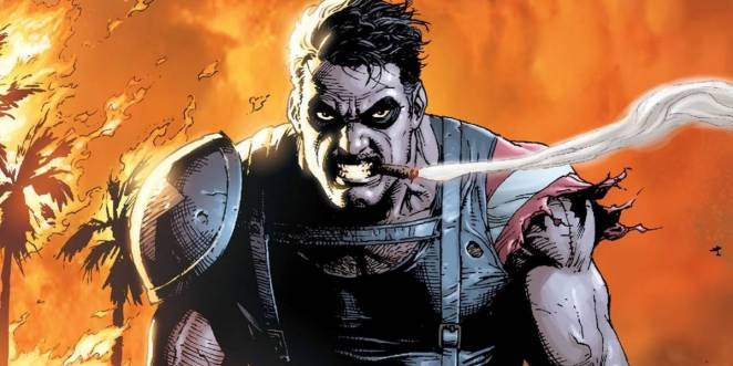 Image from the DC Comics series of the Comedian in torn costume gritting his teeth with a cigar in his mouth with flaming trees and sky in background.
