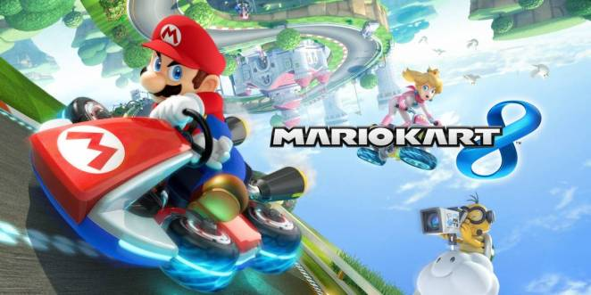 MarioKart 8 title screen with mario driving and princess peach behind
