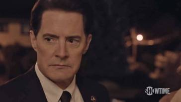 "A close-up on Dale Cooper, ready to ask ""what year is this,"" after his plan did not work as expected."