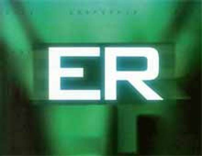 The ER title card: green and black background with white letters ER in the center front.